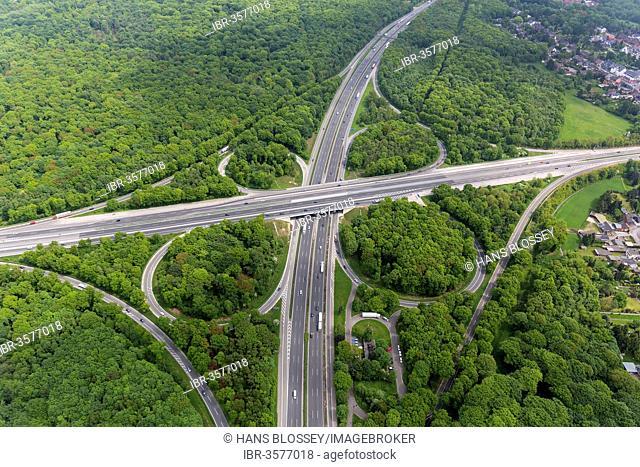 Aerial view from Oberhausen-Nord, Oberhausen motorway junction, motorways A2, A3 A516, Sterkrade-Nord, Oberhausen, North Rhine-Westphalia, Germany