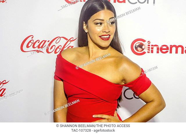Gina Rodriguez, Femail Star of Tomorrow, on the red carpet before the CinemaCon Big Screen Achievement Awards at OMNIA Night Club in Caesars Palace on March...
