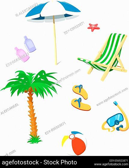 Summer time accessory. Flip flops, umbrella, chair, cream for beach. Vector illustration