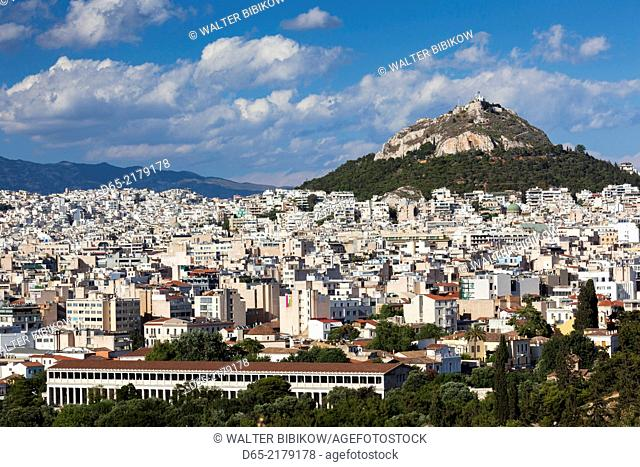 Greece, Central Greece Region, Athens, elevated city view, Ancient Agora, Stoa of Attalos, and Lycabbettus Hill from Pnyx Hill
