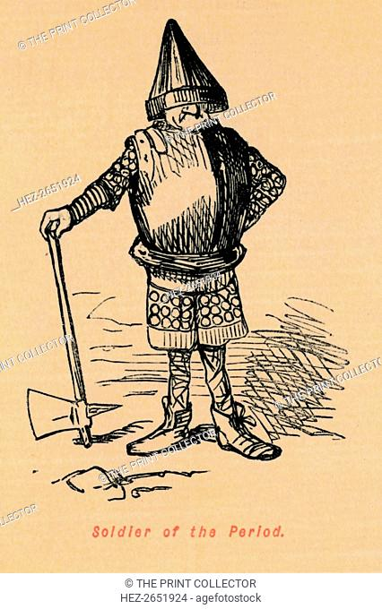 'Soldier of the Period', c1860, (c1860). From The Comic History of England, Volume I, by Gilbert A A'Beckett. [Bradbury, Agnew, & Co., London]