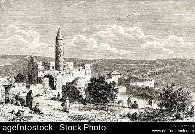 The Tower of David, ancient citadel located near the Jaffa Gate entrance to the Old City of Jerusalem, Palestine, Israel