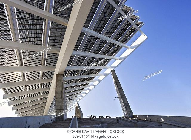 Solar panels at the Barcelona Esplanade and Forum, designed by the architects Torres and Lapena, at the Forum, Sant Adria, Barcelona, Cataluna, Spain