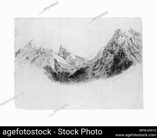 Mountains. Artist: John Singer Sargent (American, Florence 1856-1925 London); Date: ca. 1870; Medium: Graphite on brown wove paper; Dimensions: 11 3/8 x 16 1/16...