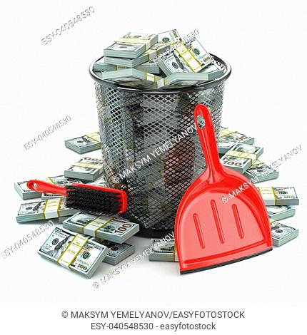 Packs of dollar in the garbage can. Waste of money or currency collapse concept. 3d