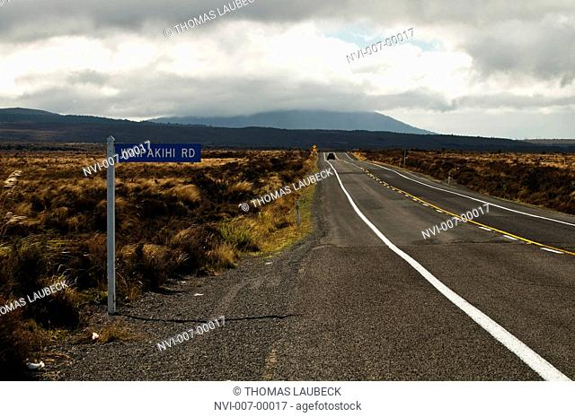 Street sign on State Highway 1 in the Rangipo Desert, south of Lake Taupo, New Zealand