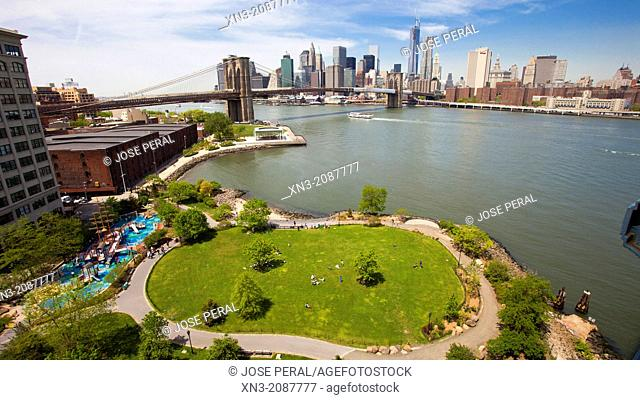 Brooklyn Bridge Park, East River, Brooklyn Bridge, Manhattan skyline, from Manhattan Bridge, Manhattan, New York City, New York, USA