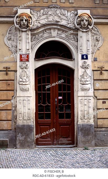 Jugendstil portal in Josefov former Jewry Prague Czechia