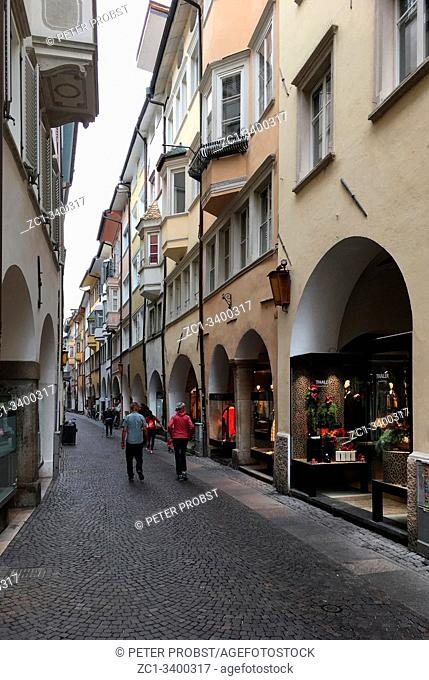 Arcade Laubengasse in the old town of Bolzano - Italy