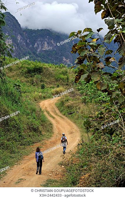 path leading to the village of Ban Pha Yong in mountain massif near Nong Khiaw, Luang Prabang Province, Laos, Southeast Asia