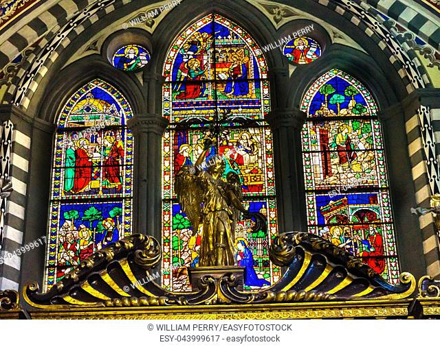 Angel Biblical Stained Glass Chapel Santa Maria Novella Church Florence Italy. First Church in Florence founded 1357
