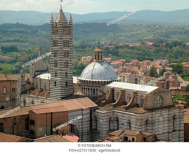 Italy, Siena, Tuscany, Toscana, Europe, Aerial view of the Duomo Campanile and the city of Siena from Torre del Mangia