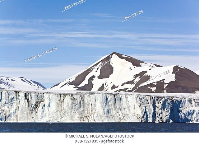 A view of the tidewater glacier in Isbukta Ice Bay on the western side of Spitsbergen Island in the Svalbard Archipelago, Barents Sea
