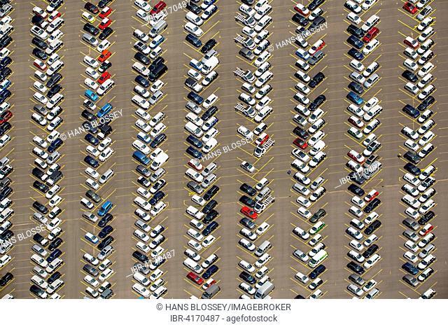 Car stockpile, Logport I, export and import vehicles, Rheinhausen, Duisburg, Ruhr, North Rhine-Westphalia, Germany