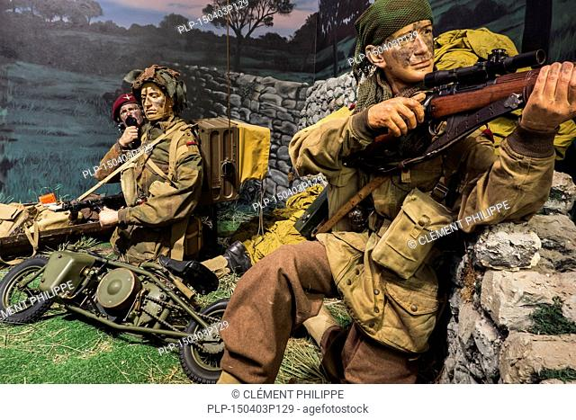 Diorama showing British World War Two paratroopers and Welbike, single-seat motorcycle at the Royal Museum of the Army and of Military History in Brussels