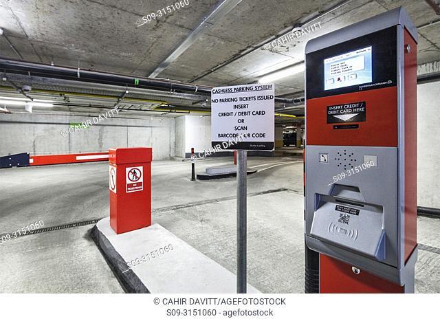 Cashless car park ticketing machine and barrier, located in a car park, Dublin, Co. Dublin Ireland