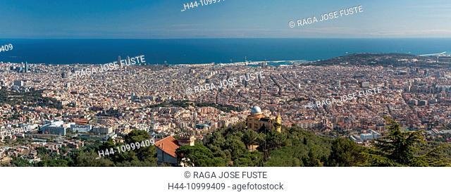 Spain, Catalonia, Barcelona City Panorama from Tibidabo Mountain