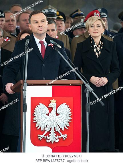 November 11 2015 Warsaw, Poland. Presidential Couple during National Independence Day. In the picture: President Andrzej Duda and the First Lady Agata Duda