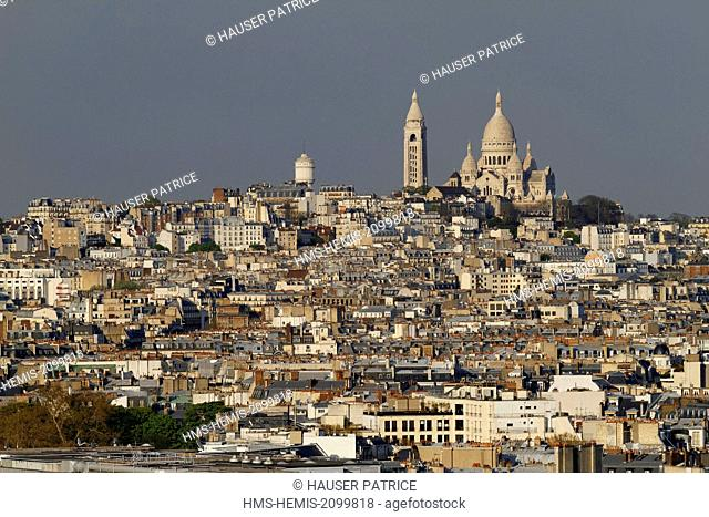 France, Paris, Sacre Coeur and the hill of Montmartre in background