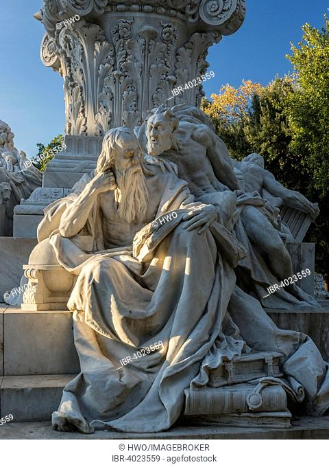 Goethe monument, sculpture group Faust and Mephistopheles, marble, 1904, sculptor Gustav Eberlein, Pinciano, Rome, Lazio, Italy
