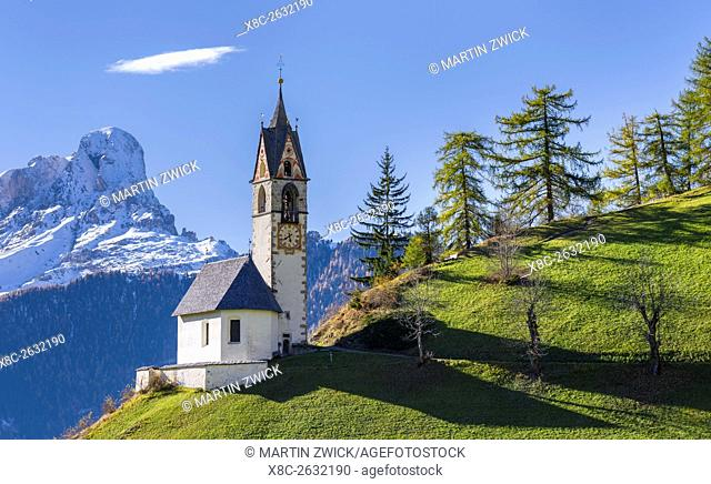 Chapel Barbarakapelle - Chiesa di santa Barbara in the village of Wengen - La Valle, in the Gader Valley - Alta Badia in the Dolomites of South Tyrol - Alto...
