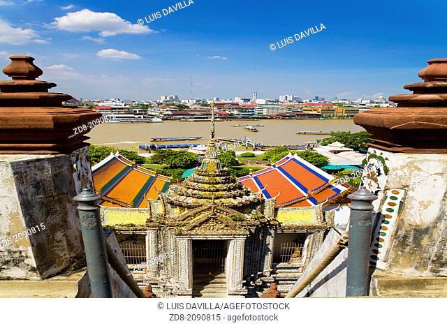 Sunrise over Wat Pho river temple Bangkok