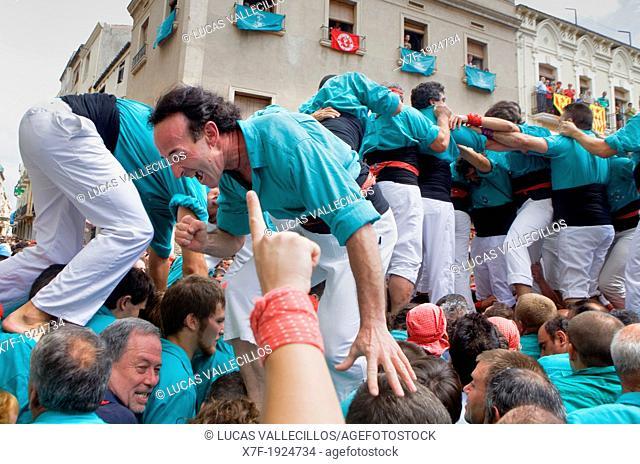 Celebrating a great success Castellers de Vilafranca 'Castellers' is a Catalan tradition  Vilafranca del Penedès  Barcelona province, Spain