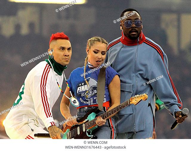The Black Eyed Peas perform as part of the opening ceremony of the UEFA Champions League final at the Millennium Stadium in Cardiff, Wales