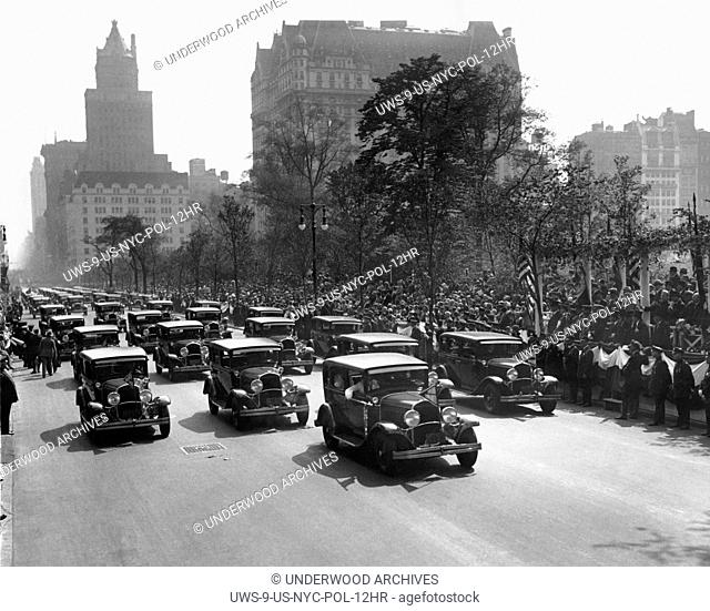 New York, New York: c. 1926 New York City squad cars in a police parade