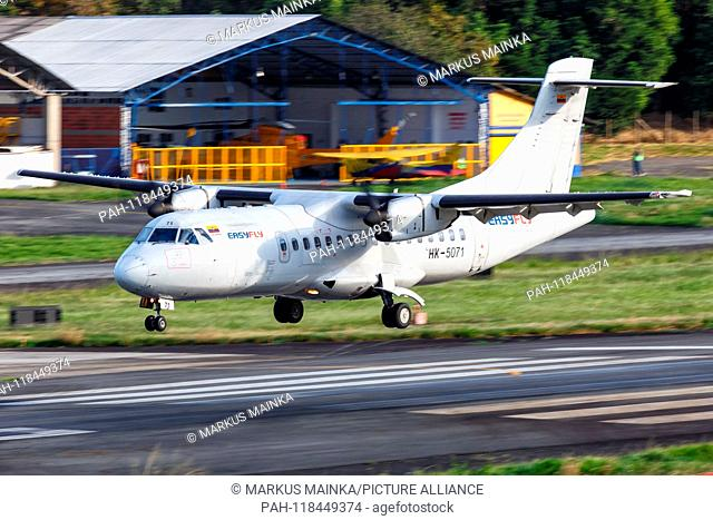 Medellin, Colombia – January 25, 2019: Easyfly ATR 42 airplane at Medellin Enrique Olaya Herrera airport (EOH) in Colombia. | usage worldwide