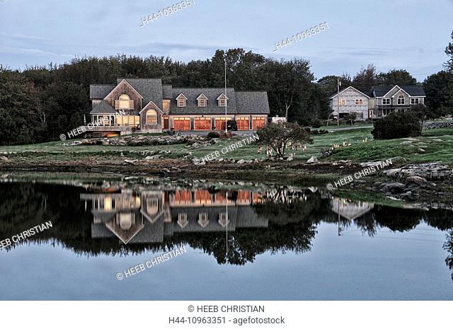 USA, United States, America, East Coast, New England, coastal, rocky, coast, Rockland, house, building, inlet, rural