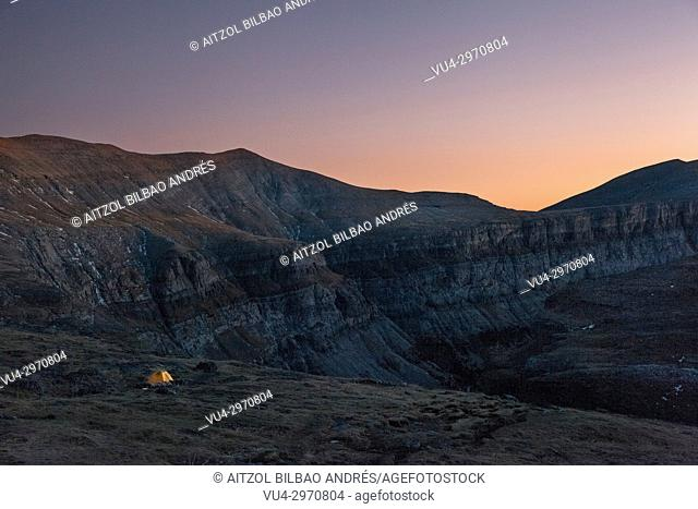 Sunset in the Ordesa and Monte Perdido natural park, Pyrenees, Spain