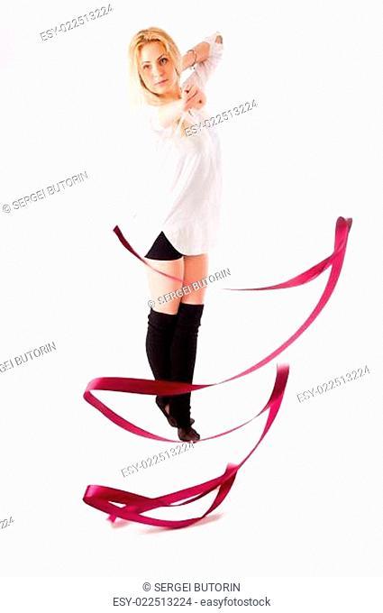 rhythmic gymnastics woman with red tape