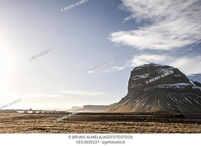 Lómagnúpur, a high palisade of cliffs that towers over Björninn Mountain, west of the Núpsvötn Lakes in Skeiðarársandur (region of Suðurland, Iceland)