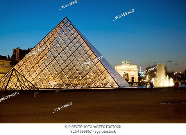 Paris, France -  The Pyramid at The Louvre Museum, Water Fountains, Credit Architect: I.M. Pei