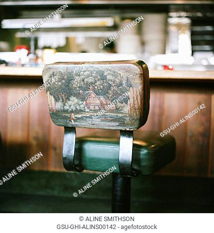 Restaurant Counter Stool with Painting of Cottage and Man Fishing on Back Support