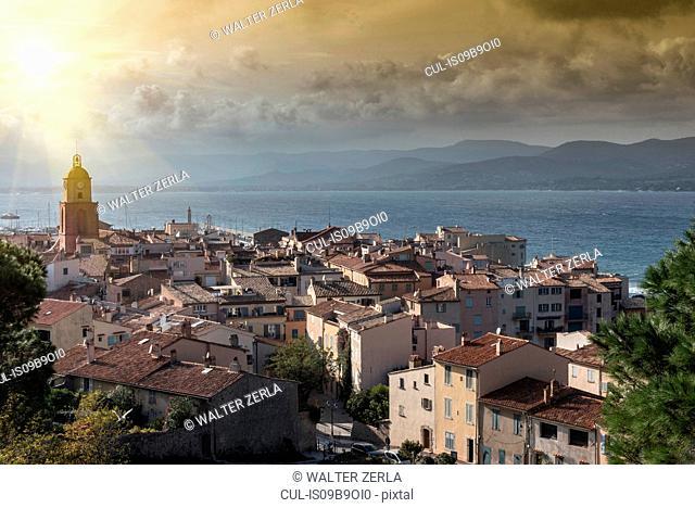Panoramic view of Saint-Tropez, Provence-Alpes-Cote d'Azur, France, Europe