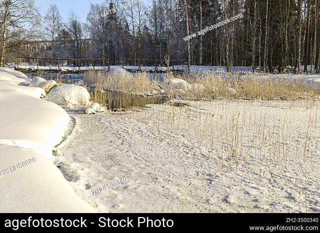Winter landscape, creek with open water, wooden bridge crossing the water, plenty of snow in the forest, clear blue sky, Boden county, Norrbotten, Sweden