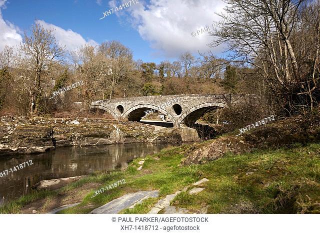 Ancient Bridge over the river Teifi, Cenarth, Wales, UK