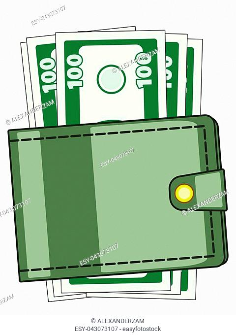 Illustration of the cash wallet with dollars