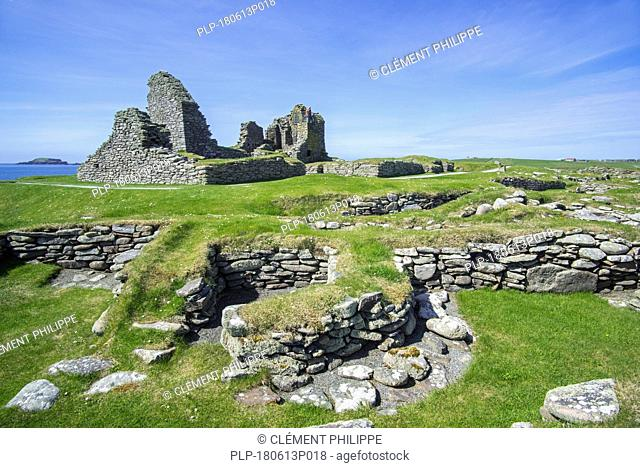 Remains of medieval farm and 17th century laird's house at Jarlshof, archaeological site at Sumburgh Head, Shetland Islands, Scotland, UK