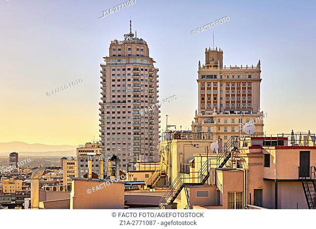 "Gran Via rooftops, ÒTorre de MadridÓ building and ÒEdificio Espana"""" building, located at Plaza de Espana (square of Spain). Madrid. Spain"