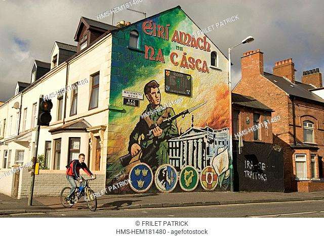 United Kingdom, Northern Ireland, Ulster, Belfast, mural in Falls Catholic Republican District commemorating the 1916 uprising
