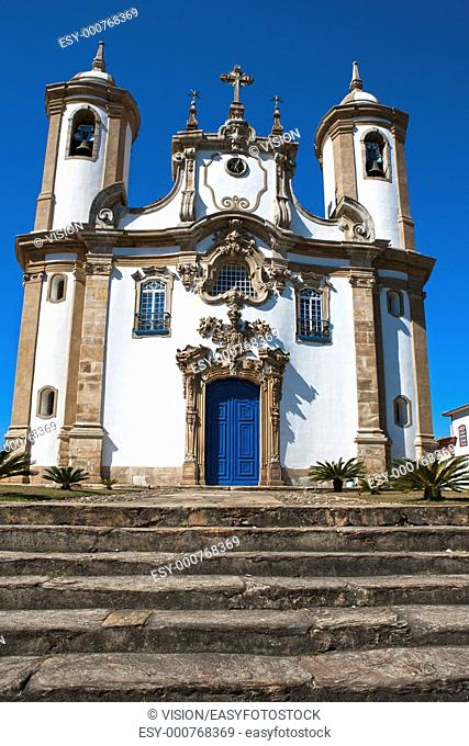 view of a church of ouro preto in minas gerais brazil