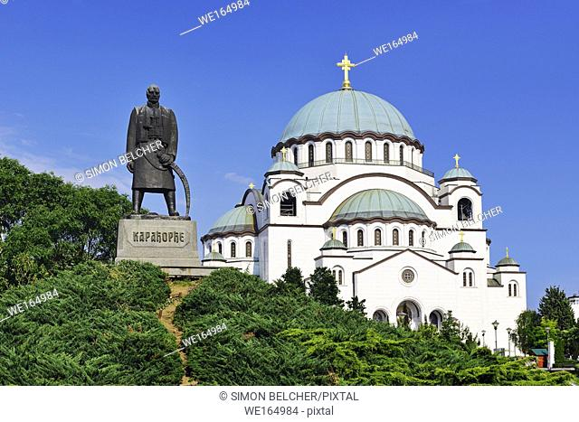Belgrade, Serbia, Monument to Karadjordje with the Church of Saint Sava in the background