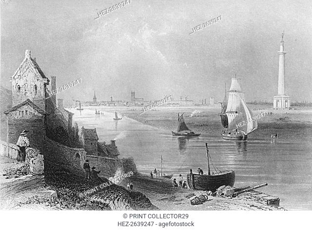 'Yarmouth, with Nelson's Monument', 1859. Artist: H Griffiths