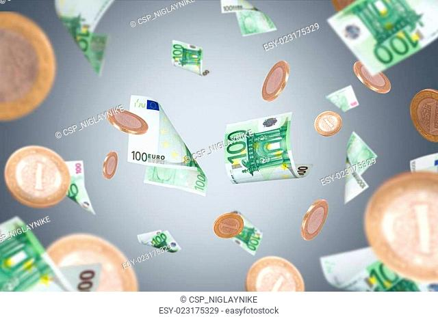 Euro Banknotes and Coins Flying