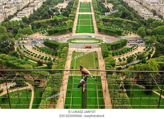 Aerial view of Paris architecture from the Eiffel tower