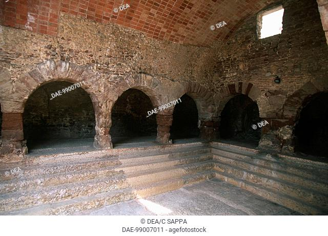 Spain - Catalonia - Surroundings of Barcelona - Caldas de Montbuy. Roman baths. Interior, pool