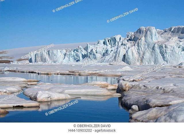 Svalbard, Spitsbergen, Arctic, Norway, Europe, polar region, ice, nature, landscape, island, isle, archipelago, Vesttfonna, glacier, glacier edge, edge